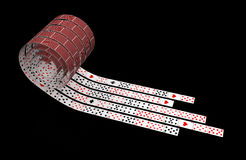 Card Roll. Playing Card 3d abstract ribbons, isolated Stock Image