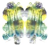 Card of rorschach inkblot test. Fine abstract symmetric watercolor painting. Yellow, green, blue and gray paint. Freehand Drawing vector illustration