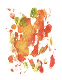 Card of rorschach inkblot test. Green, red, orange and yellow watercolor blotch. Royalty Free Stock Photo