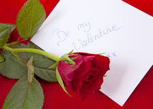 Card and rose for Valentines Stock Image