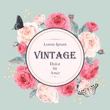 Card with roses and butterflies. Vector vintage card with english roses and butterflies Royalty Free Stock Images