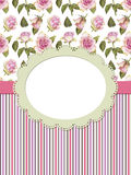 Card with roses and frame. On striped background Royalty Free Stock Images