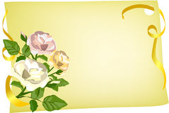 Card with roses and ribbon Stock Photos