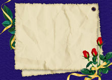 Card with roses and ribbons on the blue background. Crushed paper with roses and ribbons on the dark blue background Stock Photos