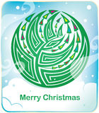 Card with round christmas tree. And snow Stock Photography