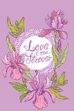 Card with round lace frame and orchid flowers on purple backgrou Royalty Free Stock Photography