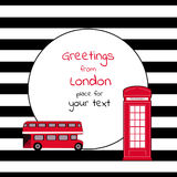 Card with round place for text striped with London bus and call-box Royalty Free Stock Image
