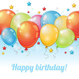 Card with row of balloons Stock Photography