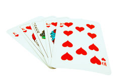 Card Royal flush with joker. Royalty Free Stock Images