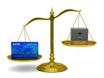 card säkra scales för kreditering Stock Illustrationer
