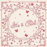 Card It`s a girl in pink. Delicate card for newborn It`s a girl in pink Royalty Free Stock Photos