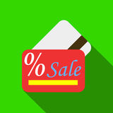 Card sale icon, flat style Stock Image