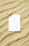 Card on sand with sea shell. White greeting card on sand waves of a beach with one single sea shell Royalty Free Stock Photo