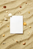 Card on sand with sea shells Royalty Free Stock Image
