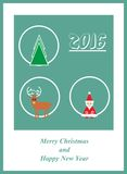 Card with santa claus, christmas tree, deer and 2016. Illustration of the Card with santa claus, christmas tree, deer and 2016 Stock Photo