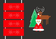 Card with santa claus, christmas tree, deer and sledge Royalty Free Stock Photography