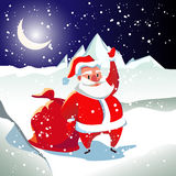 Card with Santa Claus. In a red suit with white fur. An old man with a white beard. A bag with presents. Sunset. New year's night Royalty Free Stock Images