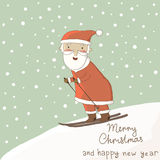 Card with Santa on skis. Stock Photography