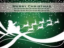 Card with santa sleigh, sparklers and snowflakes Stock Photos