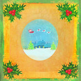 Card with Santa, winter landscape and abstract holly berry decor Royalty Free Stock Image
