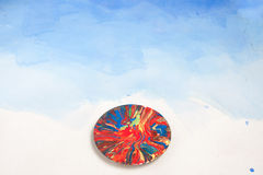Card with saucer all smudged with paint Royalty Free Stock Photos
