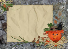 Card with scarecrow on the abstract backgrou Royalty Free Stock Images