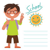 Card with schoolboy. Vector illustration Card with schoolboy Stock Images