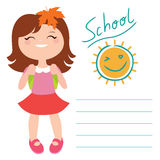 Card with schoolgirl Royalty Free Stock Photography