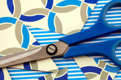 Card and scissors Royalty Free Stock Images