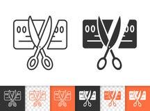 Card Scissors Cut simple black line vector icon royalty free illustration