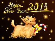 Card Scottish Terrier on black. Card the cute puppy yellow Scottish Terrier with candy Cane, gold stars and letters Happy New Year 2018. Colorfull dog, vector Royalty Free Stock Images