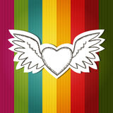 Card with scrap flying heart Stock Photography