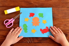 Card with sea animals and fish. Kids crafts idea project Royalty Free Stock Photography