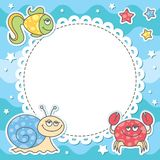 Card with sea creatures. Card with cartoon sea creatures, vector eps 10 Stock Image