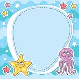 Card with sea creatures Royalty Free Stock Photo