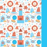 Card with sea icons on white background.  Red and blue. vector Royalty Free Stock Photo