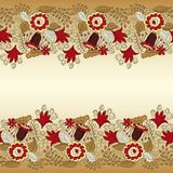 Card with seamless floral borders Royalty Free Stock Photos