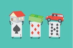 Card seize asset of gambler royalty free illustration
