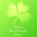 Card with Semi Transparent Shamrock Leaf. Greeting Card with Semi Transparent Shamrock Leaf on the Bright Green Background with Celtic Symbols. Vector EPS 10 Royalty Free Stock Photo