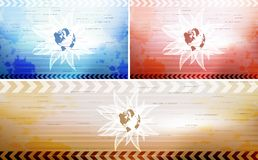 Card Set. Sample striped background set with 3 cards vector illustration