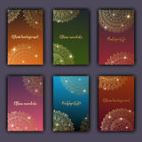 Card set with floral glowing decorative mandala elements background. Asian Indian oriental ornate banners Stock Photos