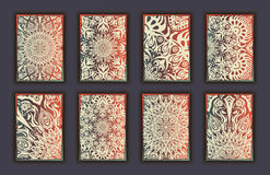 Card set with floral lace decorative mandala elements background. Asian Indian oriental ornate banners Royalty Free Stock Photography