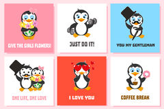Card set with funny penguin characters. I love you. Just do it. Give the girls flowers. Coffee break. You my gentleman Stock Photo