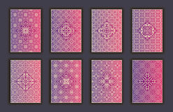 Card set with mosaic lace decorative elements background. Asian Indian oriental ornate banners. Royalty Free Stock Photography