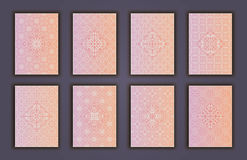 Card set with mosaic lace decorative elements background. Asian Indian oriental ornate banners. Royalty Free Stock Image