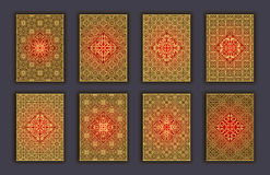 Card set with mosaic lace decorative elements background. Asian Indian oriental ornate banners. Royalty Free Stock Photo