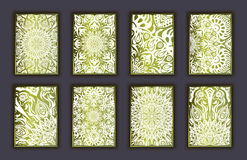 Card set with mosaic lace decorative elements background. Asian Indian oriental ornate banners. Stock Photos