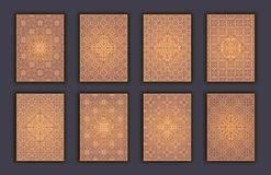 Card set with mosaic lace decorative elements background. Asian Indian oriental ornate banners. Stock Photo