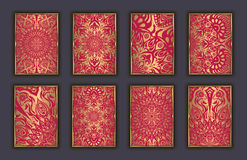 Card set with mosaic lace decorative elements background. Asian Indian oriental ornate banners. Stock Images