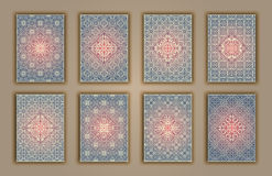 Card set with mosaic lace decorative elements background. Asian Indian oriental ornate banners. Stock Photography